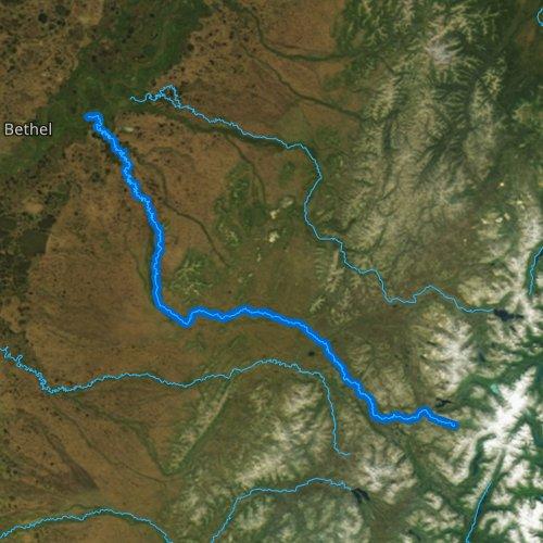 Fly fishing map for Kwethluk River, Alaska