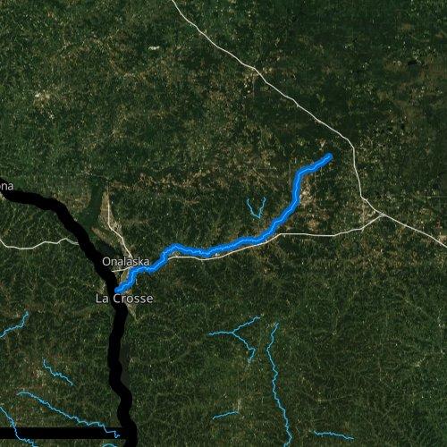 Fly fishing map for La Crosse River, Wisconsin