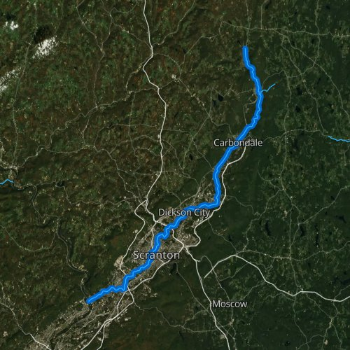 Fly fishing map for Lackawanna River, Pennsylvania