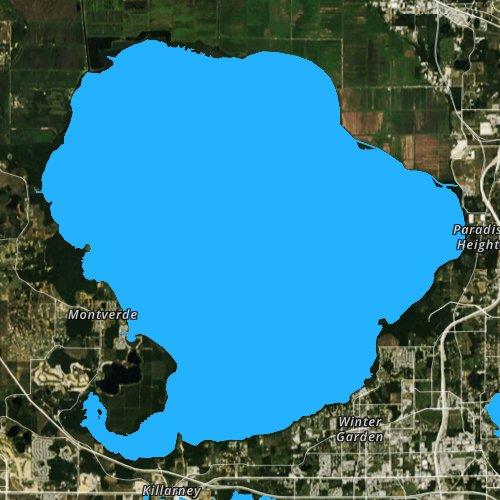 Fly fishing map for Lake Apopka, Florida