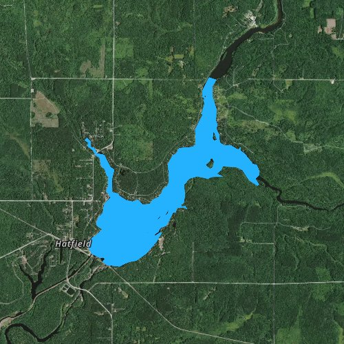 Fly fishing map for Lake Arbutus, Wisconsin