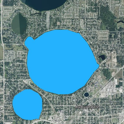 Fly fishing map for Lake Ariana, Florida