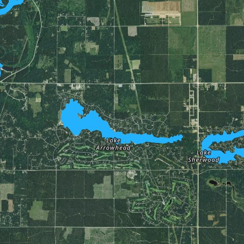 Fly fishing map for Lake Arrowhead, Wisconsin