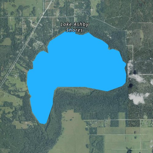Fly fishing map for Lake Ashby, Florida