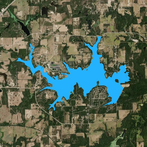 Fly fishing map for Lake Athens, Texas