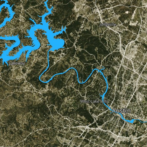 Fly fishing map for Lake Austin, Texas