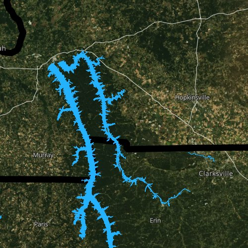 Fly fishing map for Lake Barkley, Kentucky