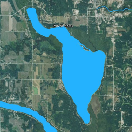 Fly fishing map for Lake Bellaire, Michigan