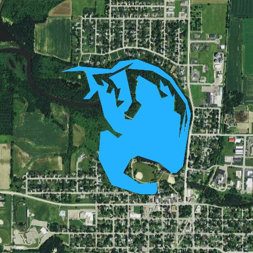 Fly fishing map for Lake Belle View, Wisconsin