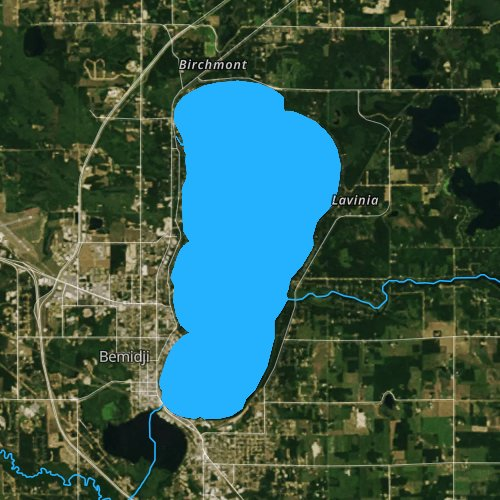 Fly fishing map for Lake Bemidji, Minnesota