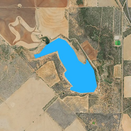 Fly fishing map for Lake Benjamin, Texas