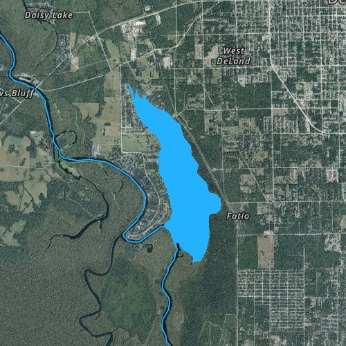 Fly fishing map for Lake Beresford, Florida