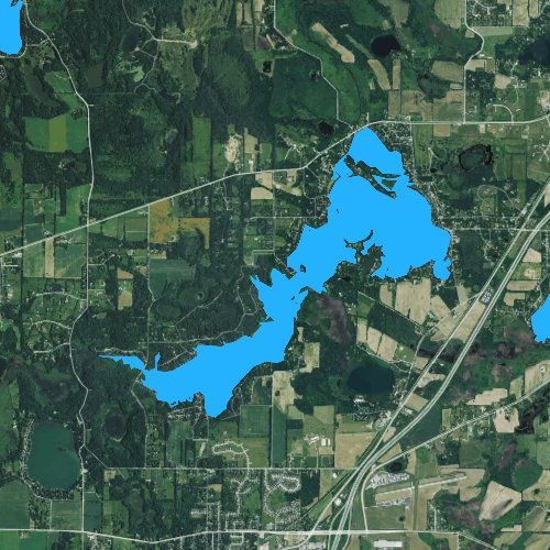 Fly fishing map for Lake Beulah, Wisconsin