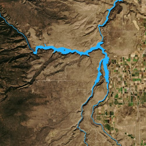 Fly fishing map for Lake Billy Chinook: Jefferson, Oregon