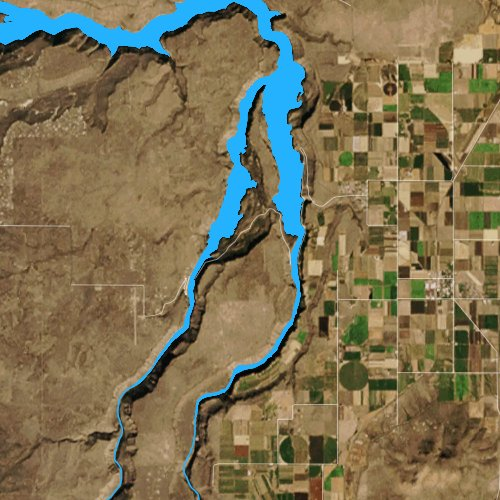 Fly fishing map for Lake Billy Chinook, Oregon