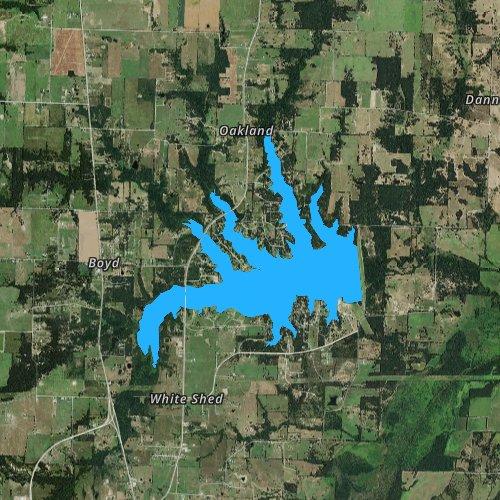 Fly fishing map for Lake Bonham, Texas