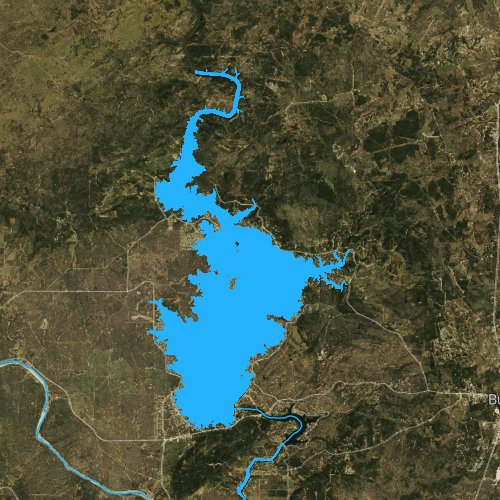 Fly fishing map for Lake Buchanan, Texas