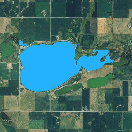 Fly fishing map for Lake Byron, South Dakota