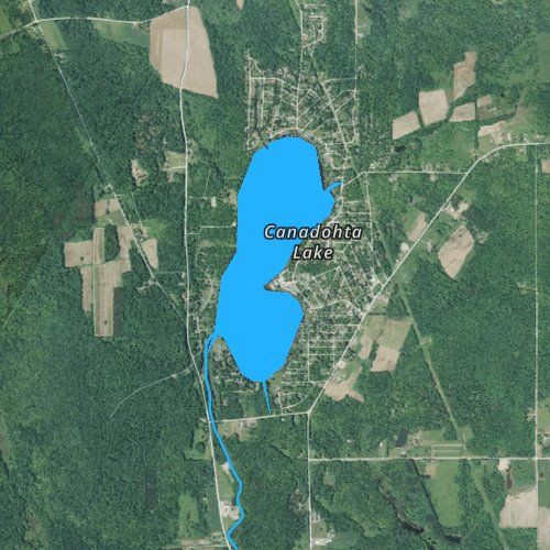 Fly fishing map for Lake Canadohta, Pennsylvania