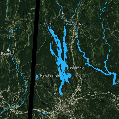 Fly fishing map for Lake Candlewood, Connecticut