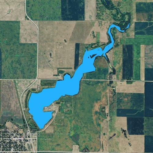Fly fishing map for Lake Carthage, South Dakota