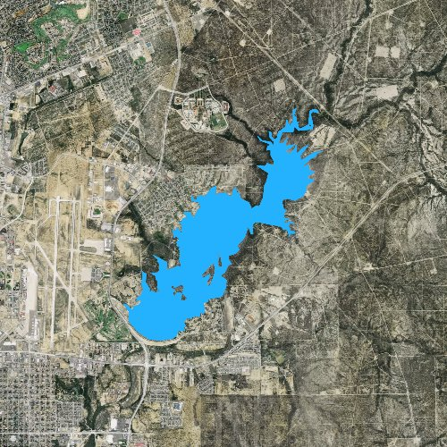 Fly fishing map for Lake Casa Blanca, Texas