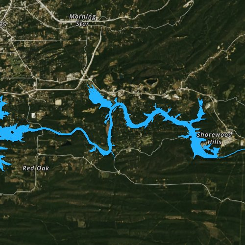 Fly fishing map for Lake Catherine, Arkansas