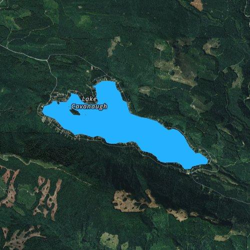 Fly fishing map for Lake Cavanaugh, Washington