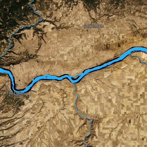 Fly fishing map for Lake Celilo, Washington
