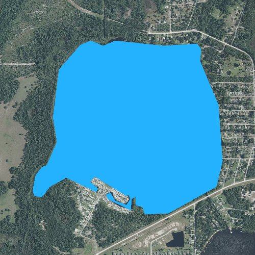 Fly fishing map for Lake Center, Florida