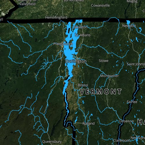 Fly fishing map for Lake Champlain, Vermont