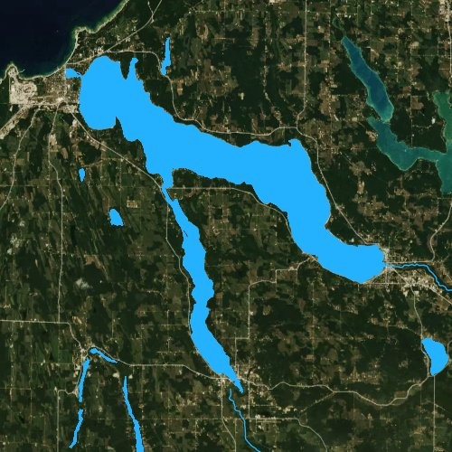 Fly fishing map for Lake Charlevoix, Michigan