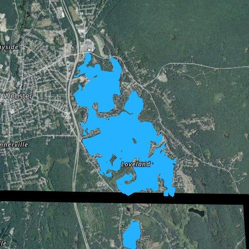 Fly fishing map for Lake Chaubunagungamaug, Massachusetts