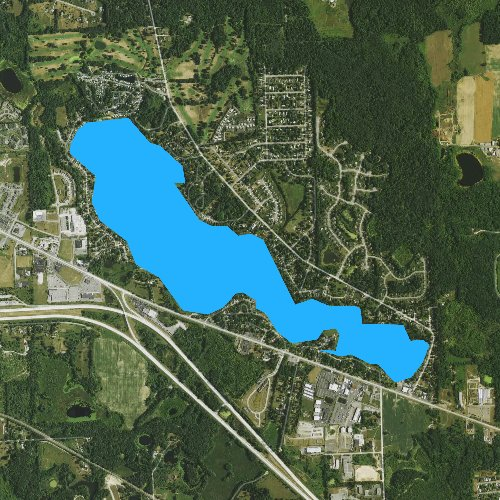 Fly fishing map for Lake Chemung, Michigan