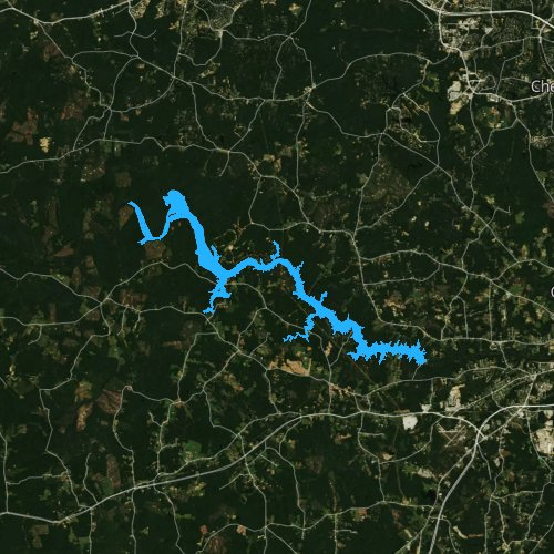 Fly fishing map for Lake Chesdin, Virginia