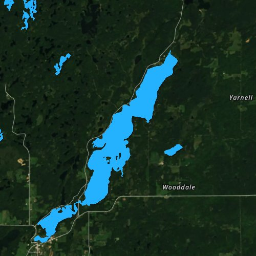 Fly fishing map for Lake Chetac, Wisconsin