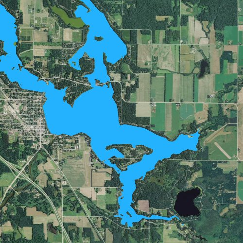 Fly fishing map for Lake Chetek, Wisconsin