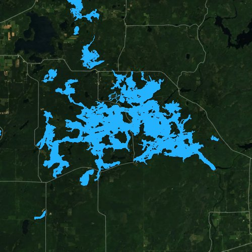 Fly fishing map for Lake Chippewa, Wisconsin