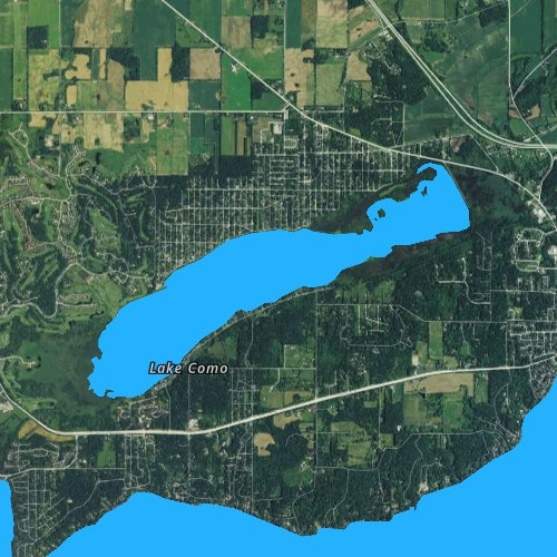 Fly fishing map for Lake Como, Wisconsin