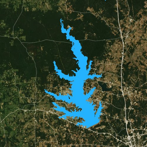 Fly fishing map for Lake Conroe, Texas