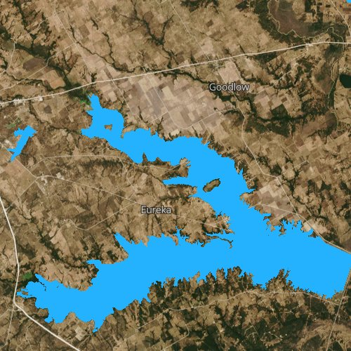 Fly fishing map for Lake Corsicana, Texas