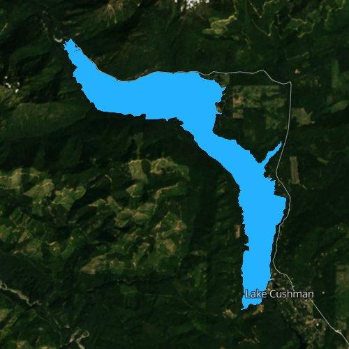 Fly fishing map for Lake Cushman, Washington
