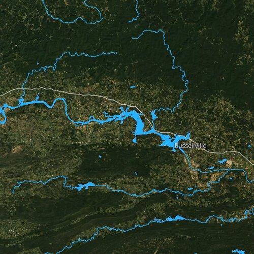 Fly fishing map for Lake Dardanelle, Arkansas