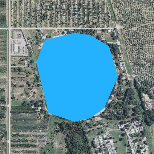 Fly fishing map for Lake Denton, Florida