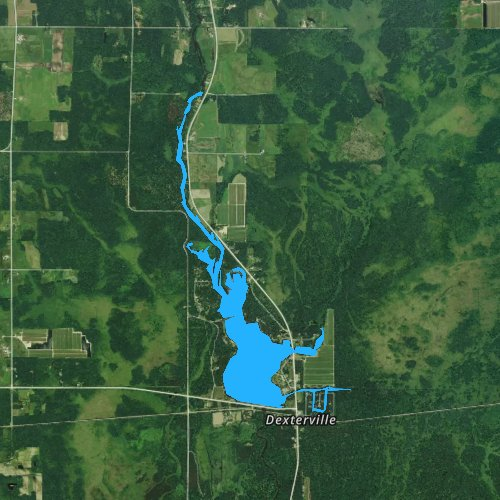 Fly fishing map for Lake Dexter, Wisconsin