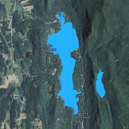 Fly fishing map for Lake Dunmore, Vermont