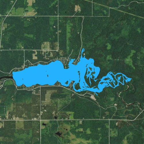 Fly fishing map for Lake Eau Claire, Wisconsin