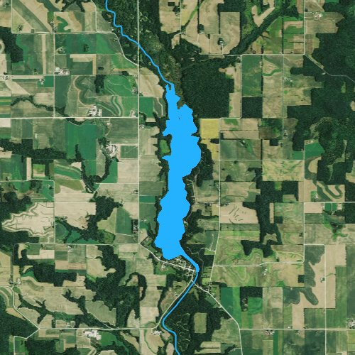 Fly fishing map for Lake Eau Galle, Wisconsin