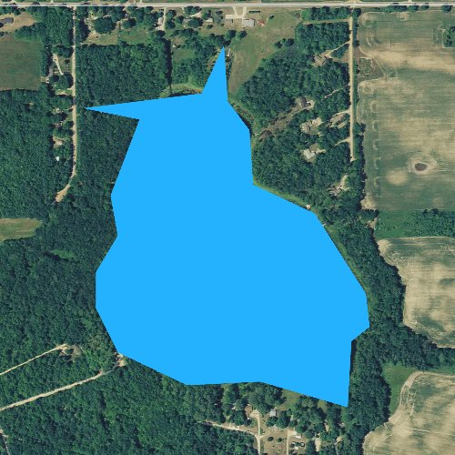 Fly fishing map for Lake Eleven, Michigan