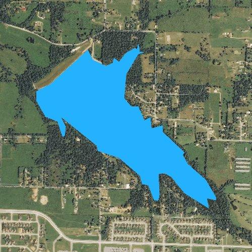 Fly fishing map for Lake Elmdale, Arkansas